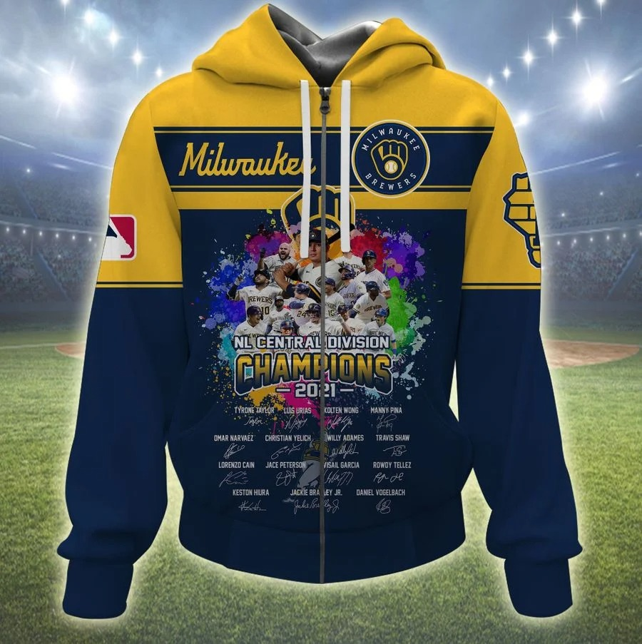 Milwaukee brewers NL central division champions 2021 all over print zip hoodie