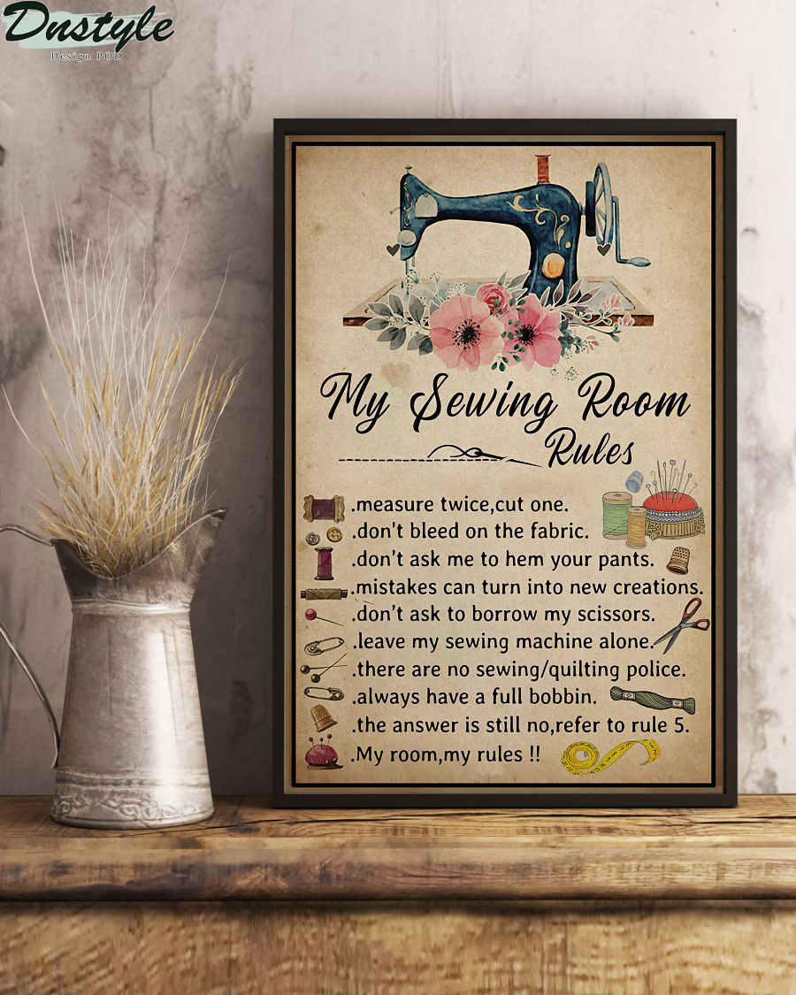 My Sewing Room Rules Poster Canvas
