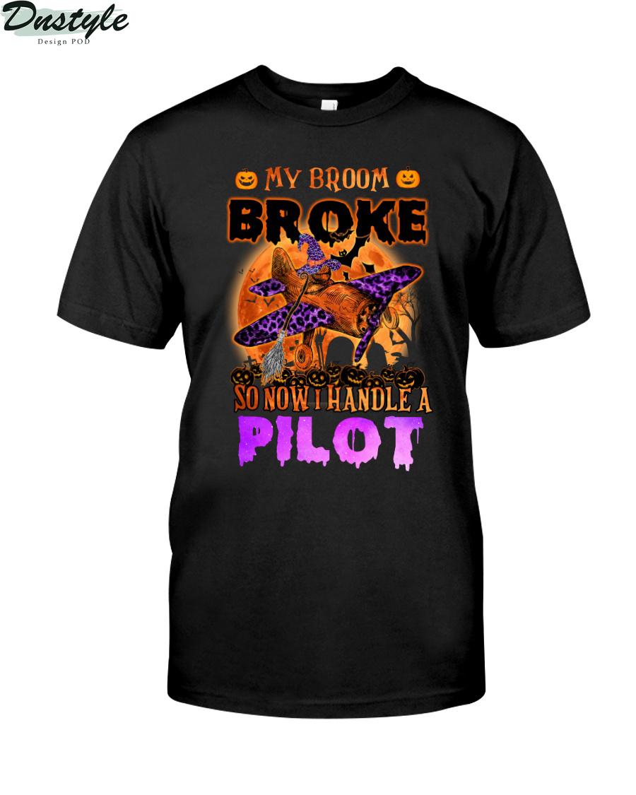 My broom broke so now I handle a pilot shirt