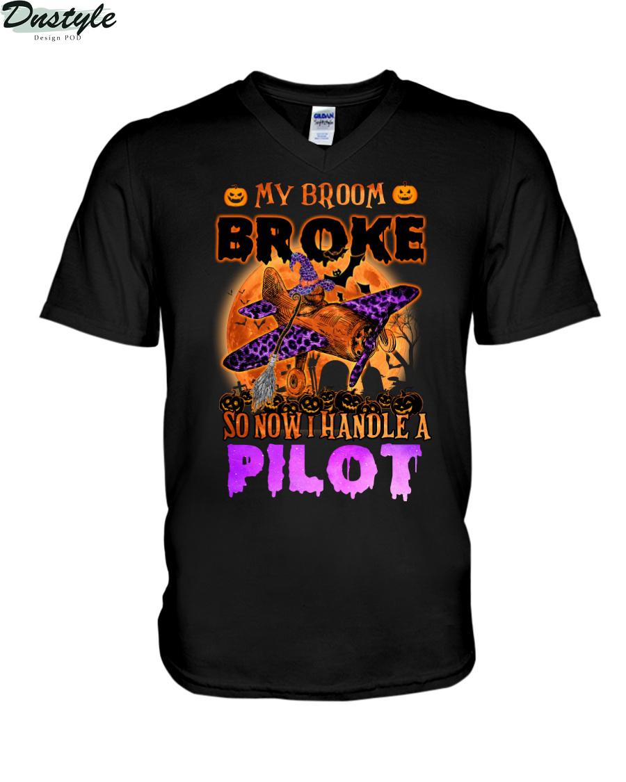 My broom broke so now I handle a pilot v-neck