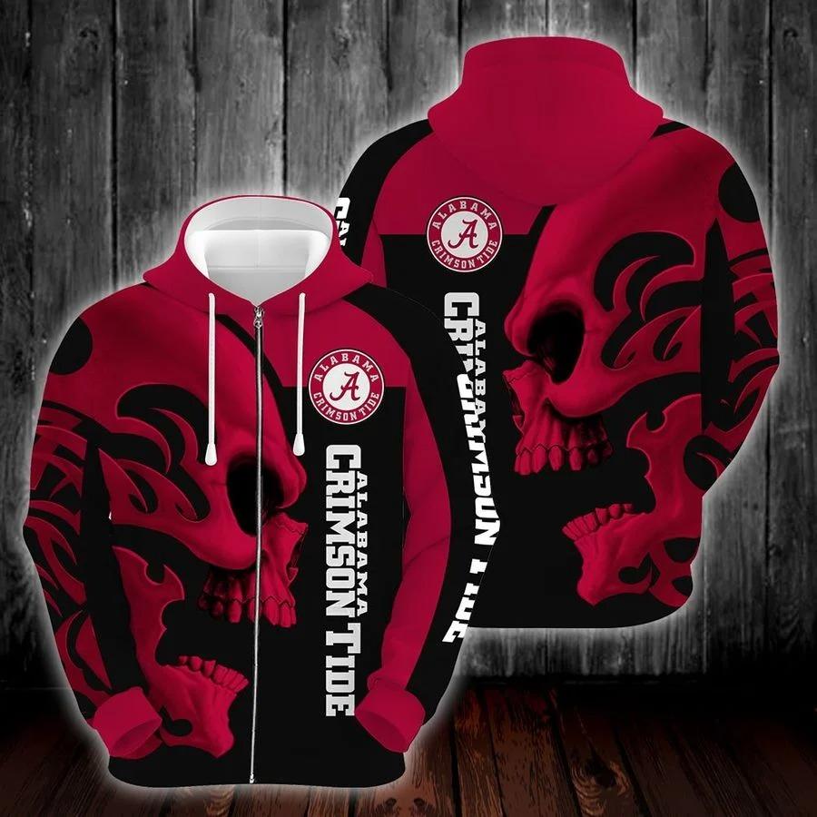 NCAA alabama crimson tide skull hoodie zip hoodie 2