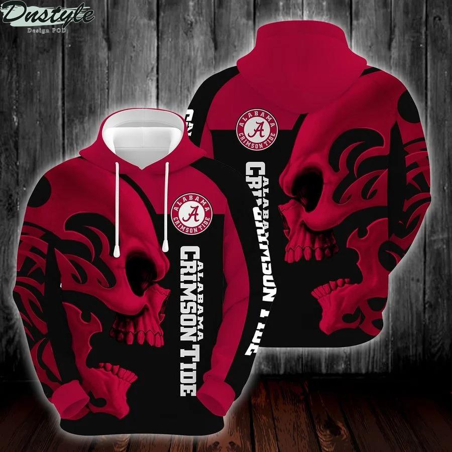 NCAA alabama crimson tide skull hoodie zip hoodie 1