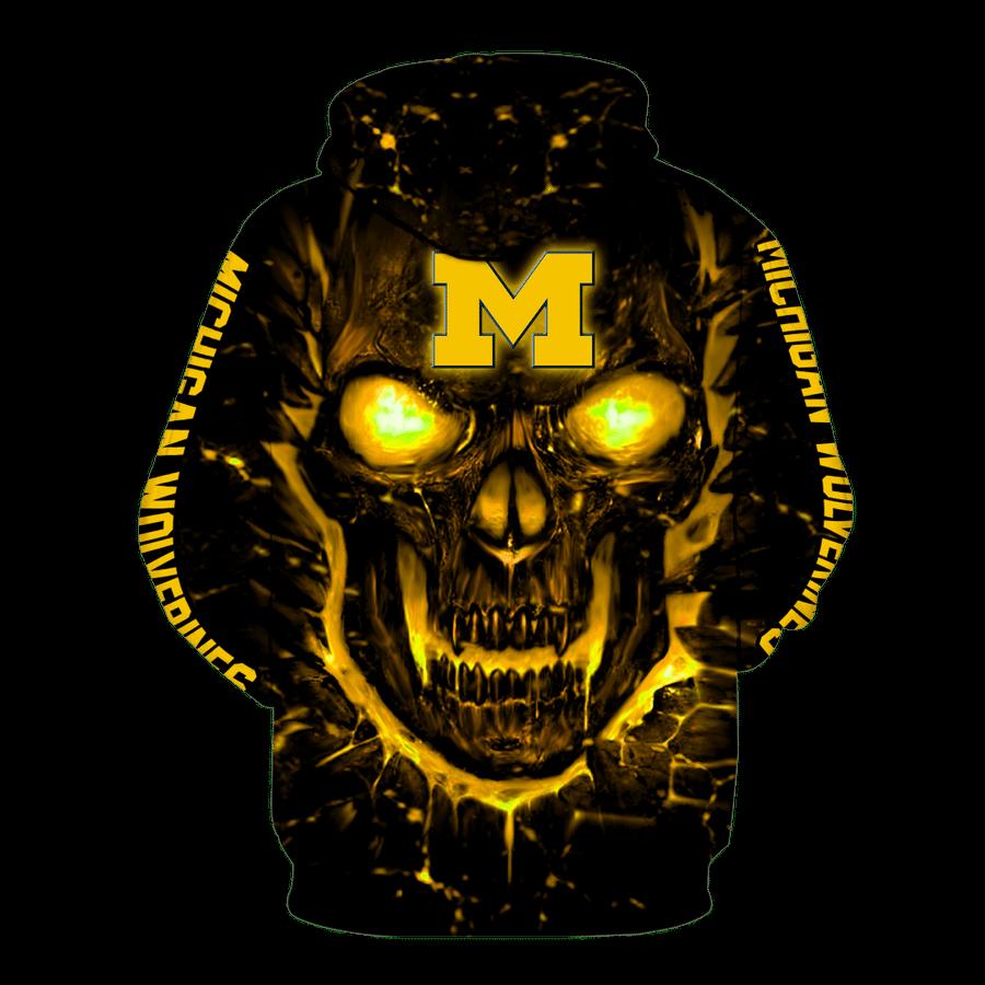 NCAA michigan wolverines basketball skull 3d full printed hoodie 2