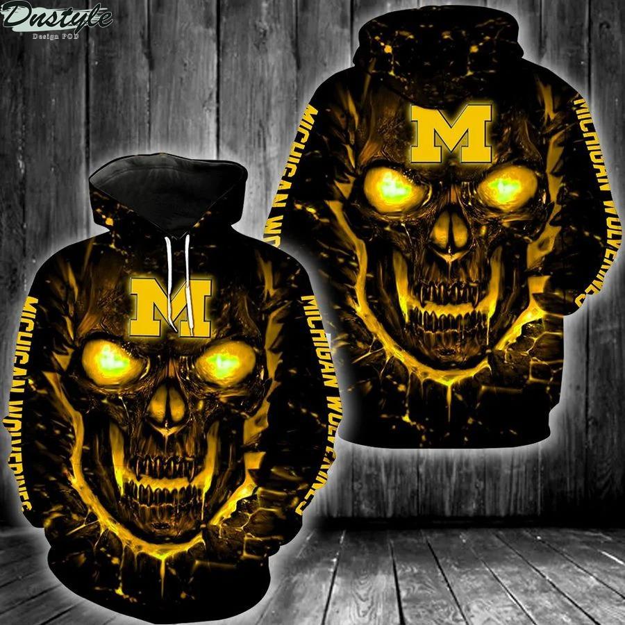 NCAA michigan wolverines basketball skull 3d full printed hoodie