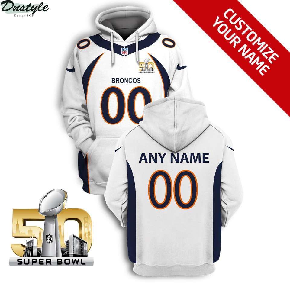 NFL Denver broncos super bowl 50 custom name and number 3d printed hoodie
