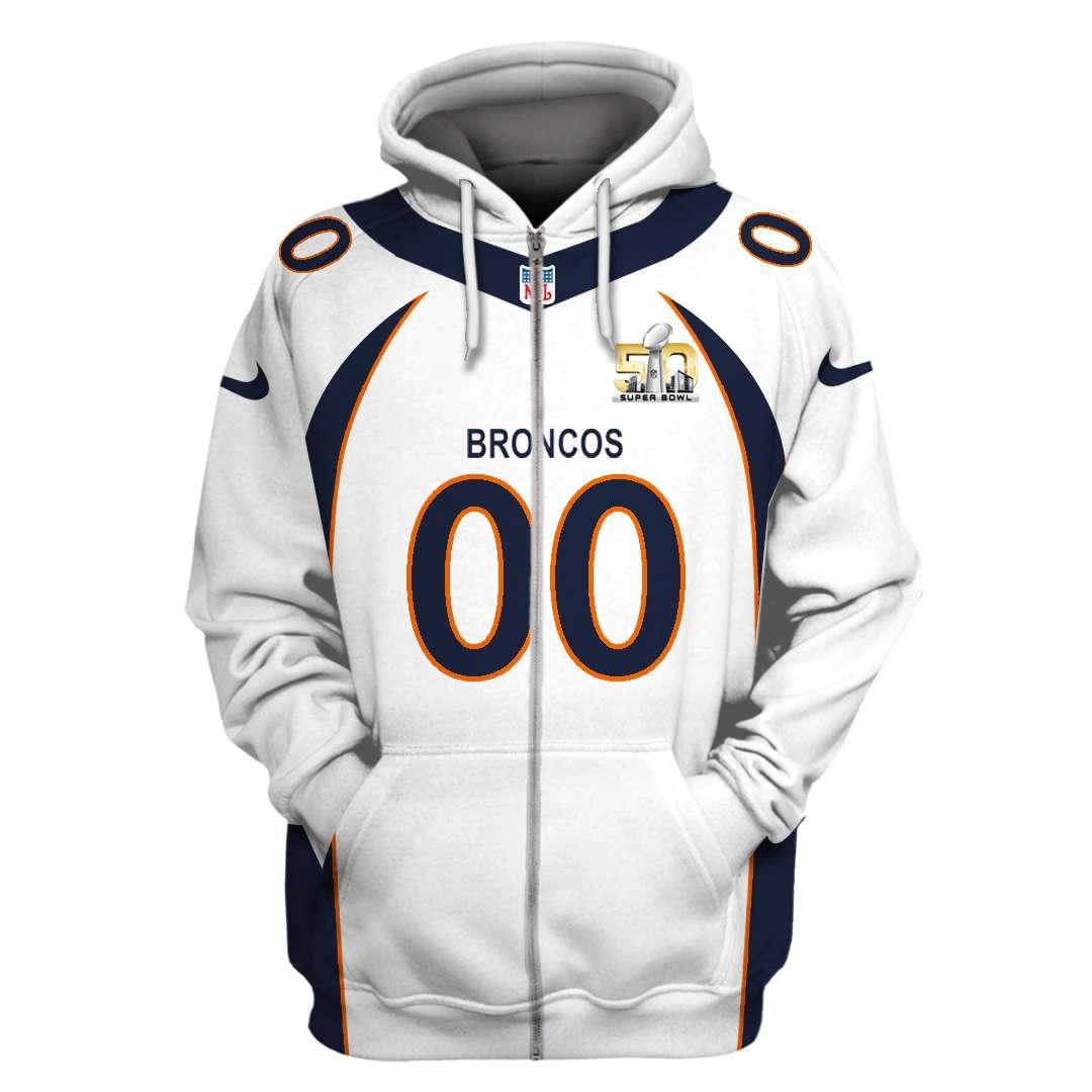 NFL Denver broncos super bowl 50 custom name and number 3d printed zip hoodie