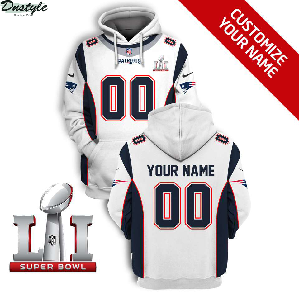 NFL New England Patriots super bowl lii custom name and number 3d printed hoodie