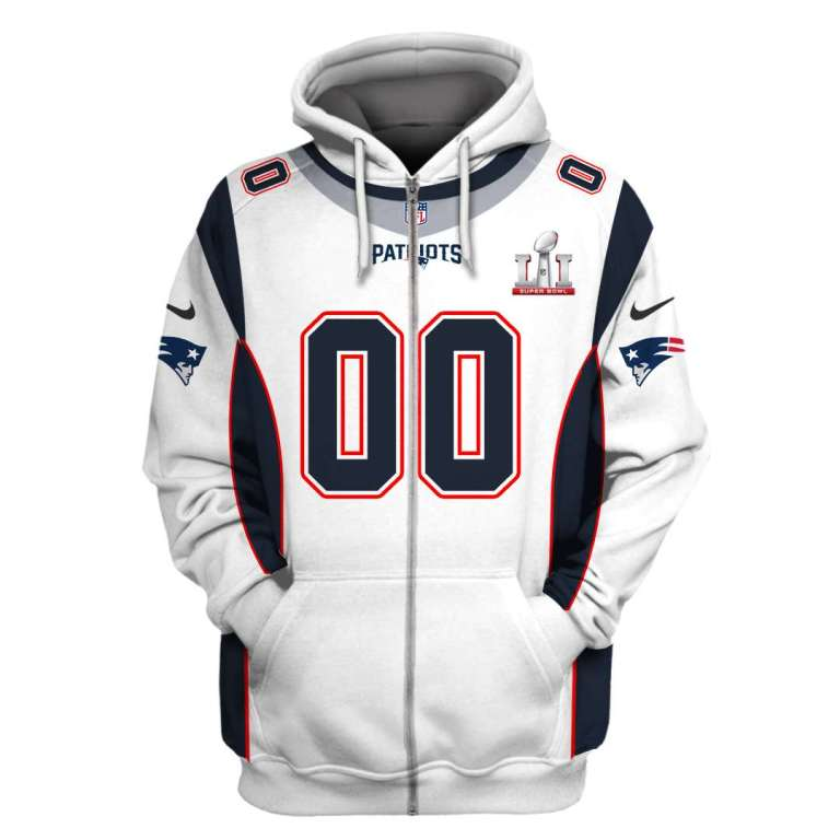 NFL New England Patriots super bowl lii custom name and number 3d printed zip hoodie
