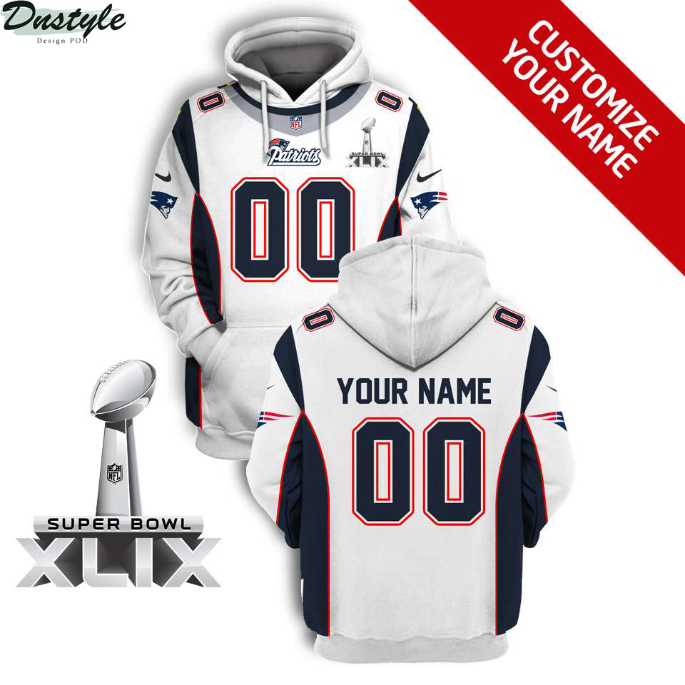 NFL New England Patriots super bowl xlix custom name and number 3d printed hoodie