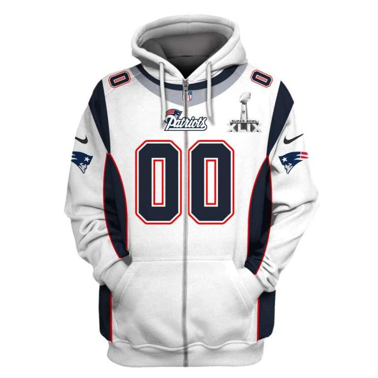 NFL New England Patriots super bowl xlix custom name and number 3d printed zip hoodie