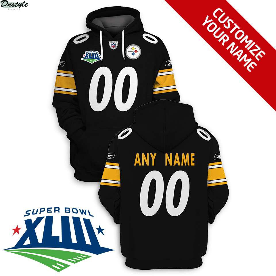 NFL Pittsburgh steelers super bowl xliii custom name and number 3d printed hoodie