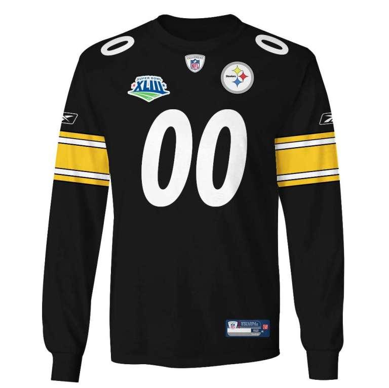 NFL Pittsburgh steelers super bowl xliii custom name and number 3d printed long sleeve
