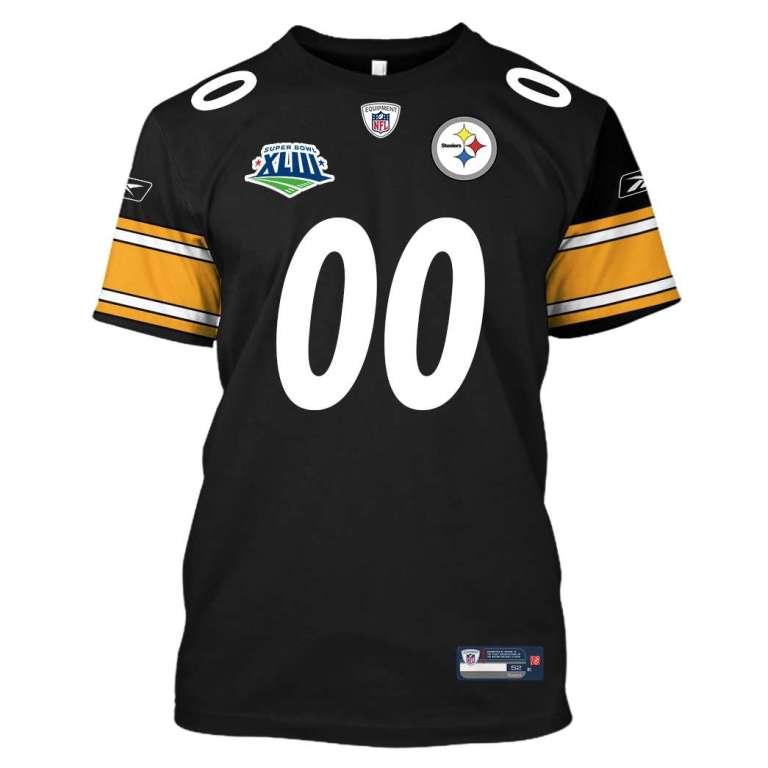 NFL Pittsburgh steelers super bowl xliii custom name and number 3d printed shirt