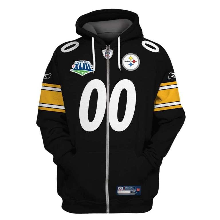 NFL Pittsburgh steelers super bowl xliii custom name and number 3d printed zip hoodie