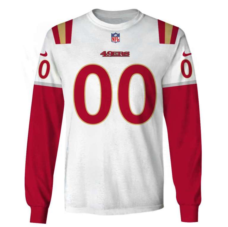 NFL San Francisco 49ers custom name and number 3d printed long sleeve