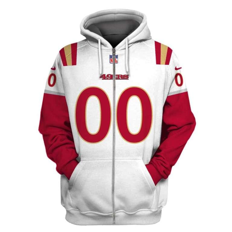 NFL San Francisco 49ers custom name and number 3d printed zip hoodie