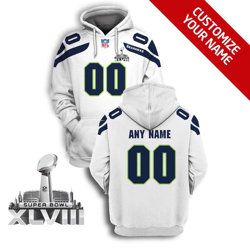 NFL Seattle seahawks super bowl xlviii custom name and number 3d printed hoodie