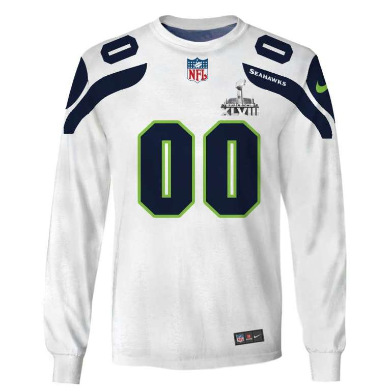 NFL Seattle seahawks super bowl xlviii custom name and number 3d printed long sleeve