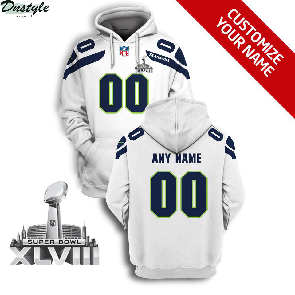 NFL Seattle seahawks super bowl xlviii custom name and number 3d printed zip hoodie