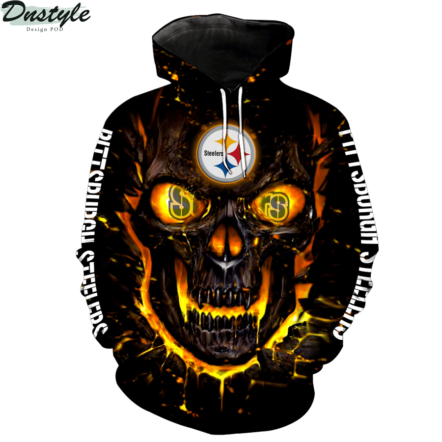 NFL pittsburgh steelers skull 3d printed hoodie 1