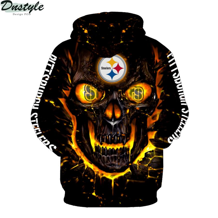 NFL pittsburgh steelers skull 3d printed hoodie 2