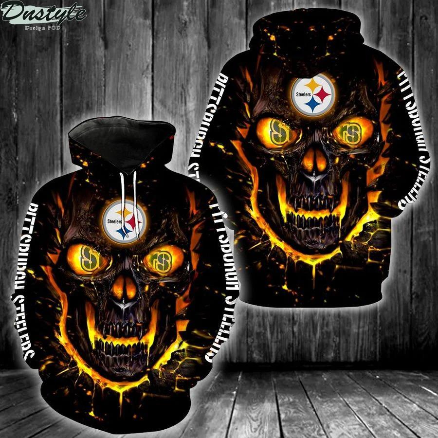 NFL pittsburgh steelers skull 3d printed hoodie