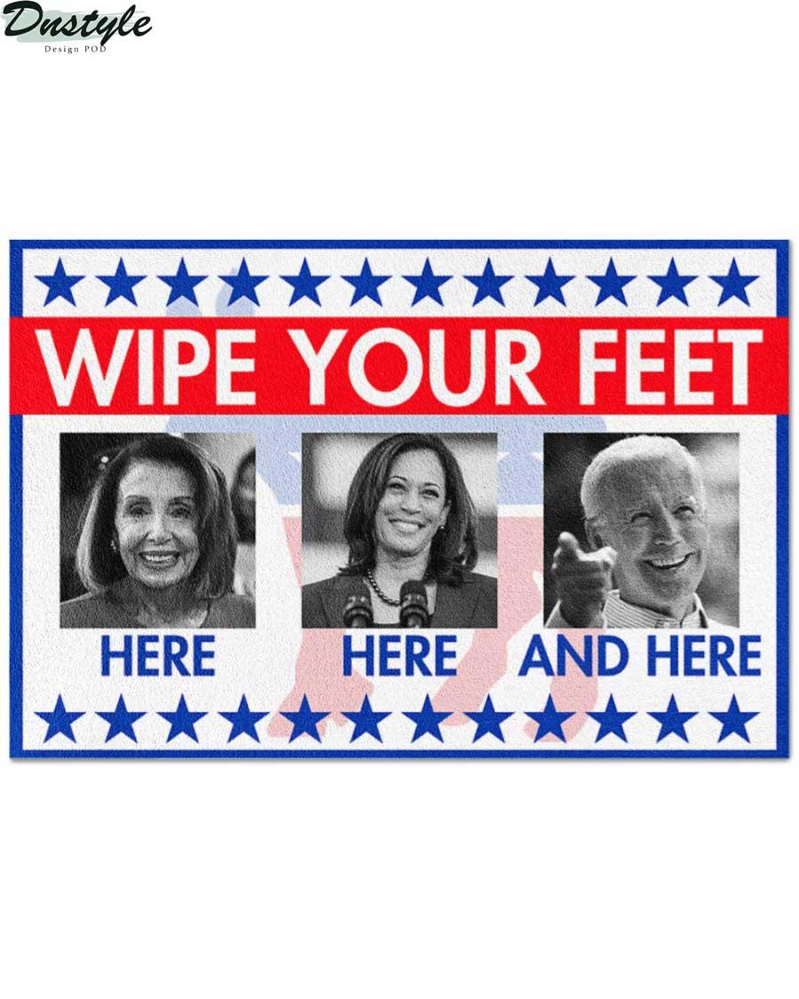 Nancy Pelosi Kamala Harris Joe Biden wipe your feet here doormat