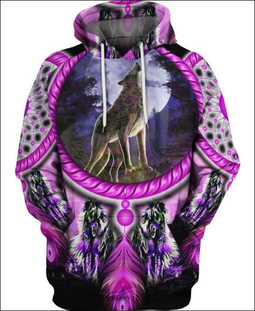 Native Wolf violet 3D hoodie
