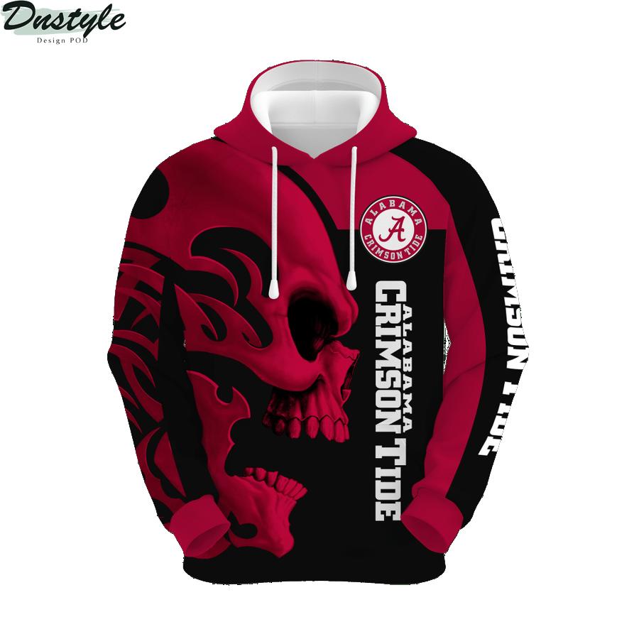 Ncaa alabama crimson tide skull 3d printed hoodie 1