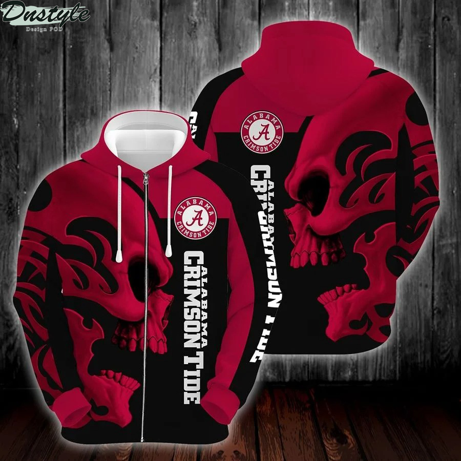 Ncaa alabama crimson tide skull 3d printed hoodie 2