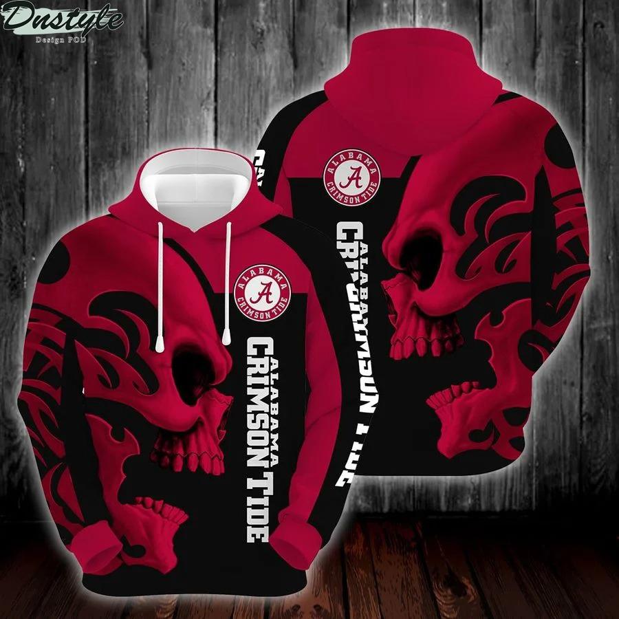 Ncaa alabama crimson tide skull 3d printed hoodie