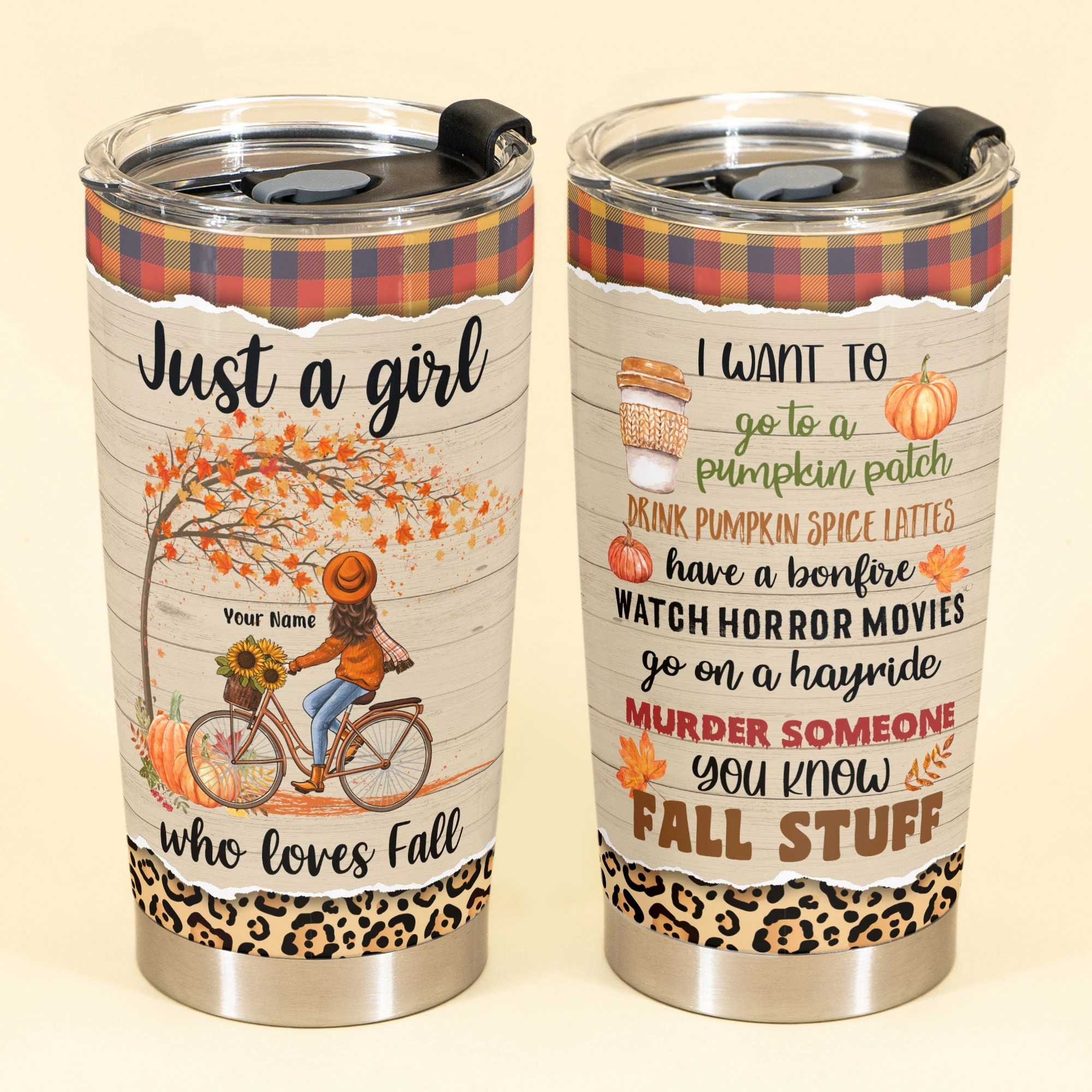 Personalized Bike Girl Just A Girl Who Loves Fall Tumbler 1