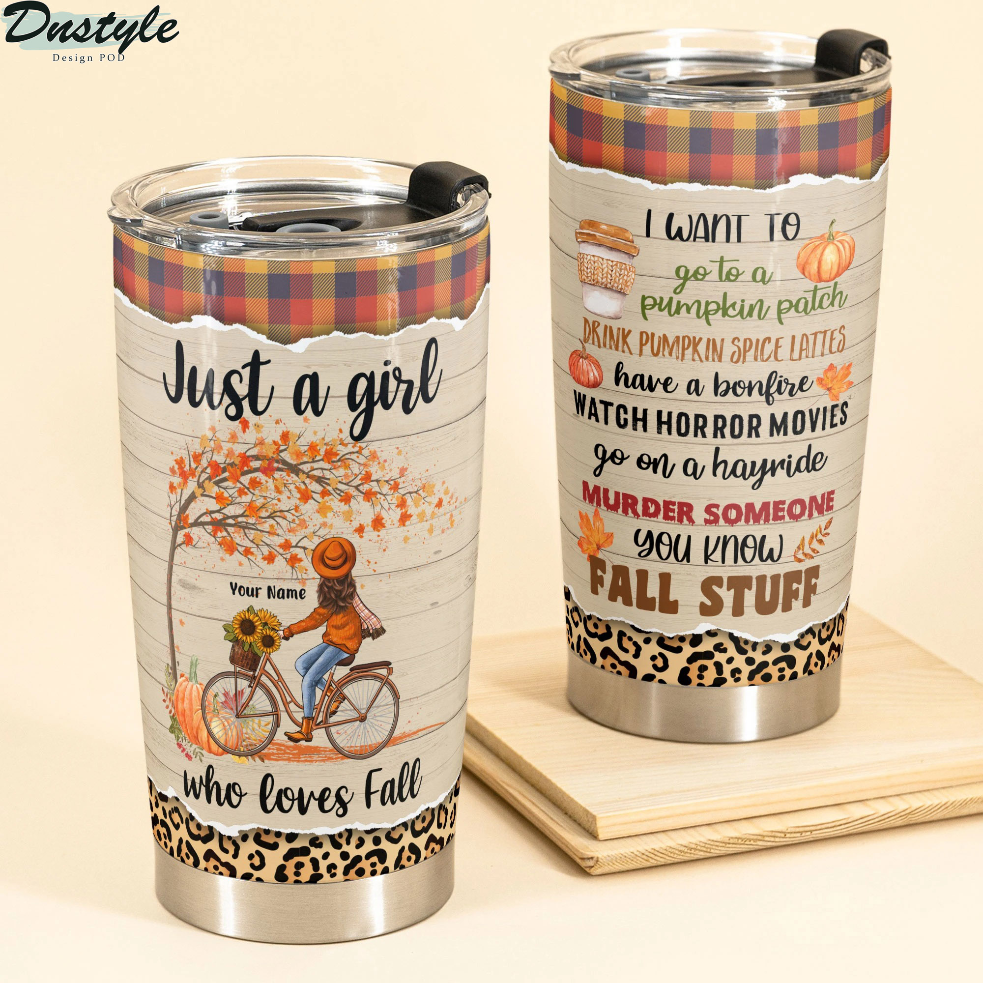 Personalized Bike Girl Just A Girl Who Loves Fall Tumbler
