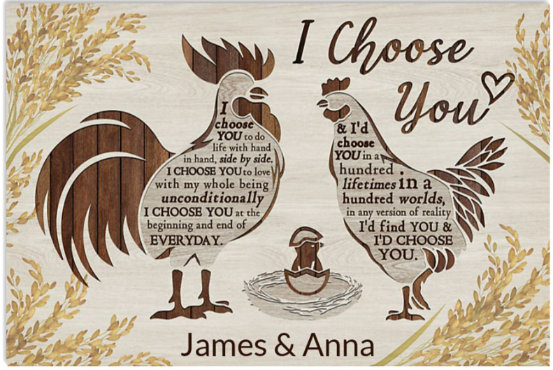 Personalized Chicken couple i choose you poster