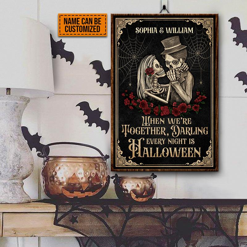 Personalized Skeleton Skull Couple When We're Together Poster 1