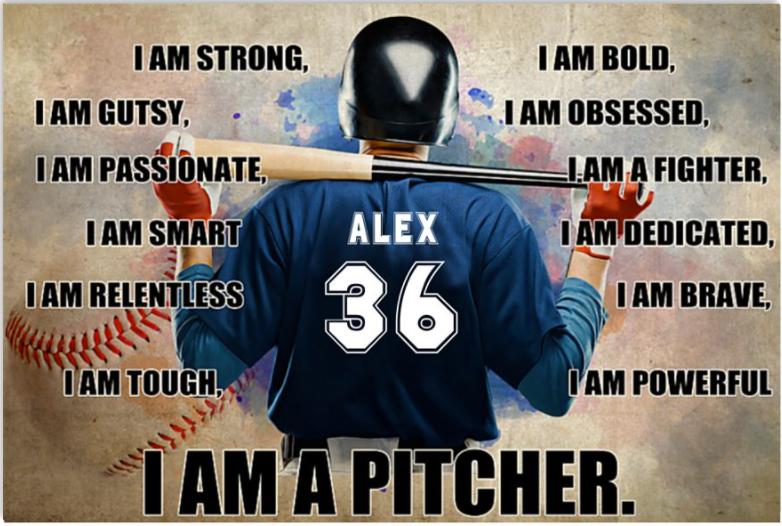Personalized baseball i am a pitcher poster