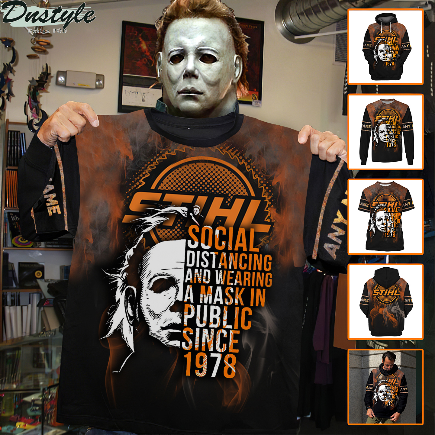 Personalized custom name Michael Myers STIHL social distancing 3d shirt