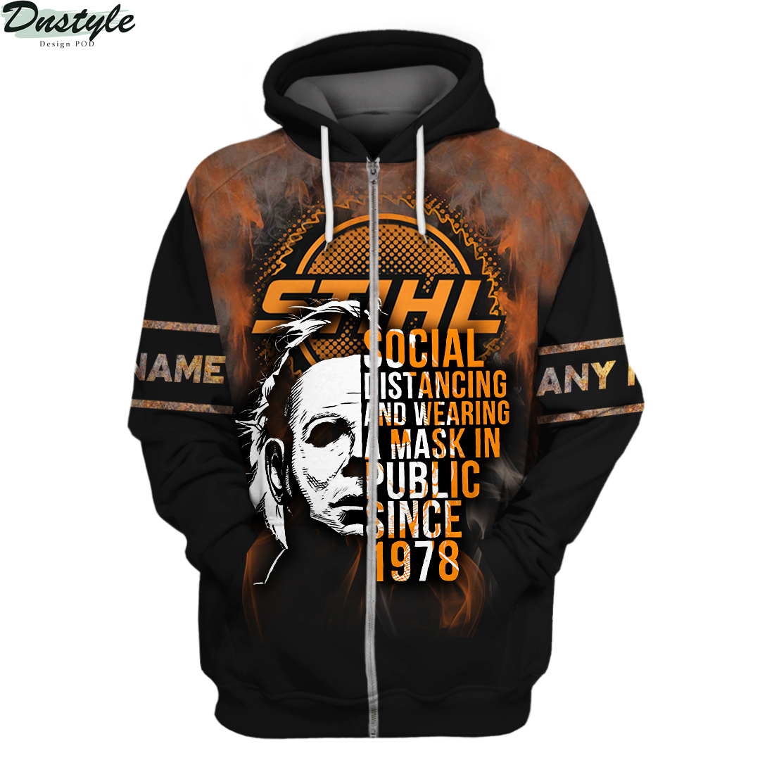 Personalized custom name Michael Myers STIHL social distancing 3d zip hoodie