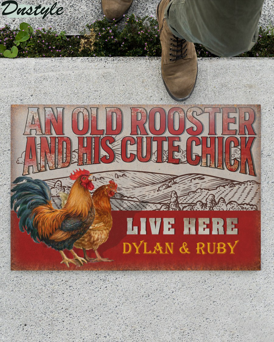 Personalized custom name chicken old rooster and his cute chick live here doormat 1
