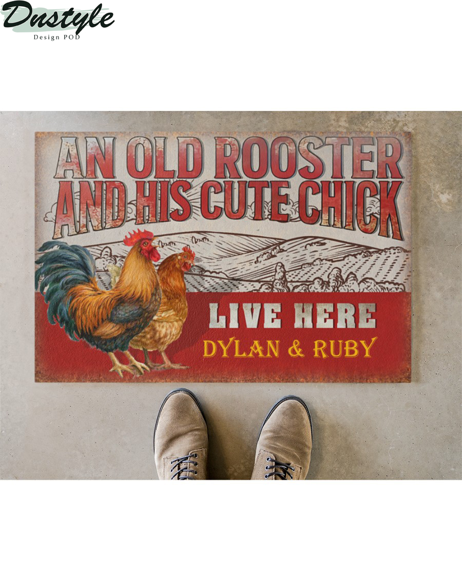 Personalized custom name chicken old rooster and his cute chick live here doormat 2