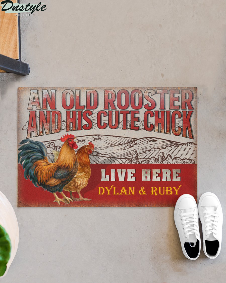 Personalized custom name chicken old rooster and his cute chick live here doormat 3