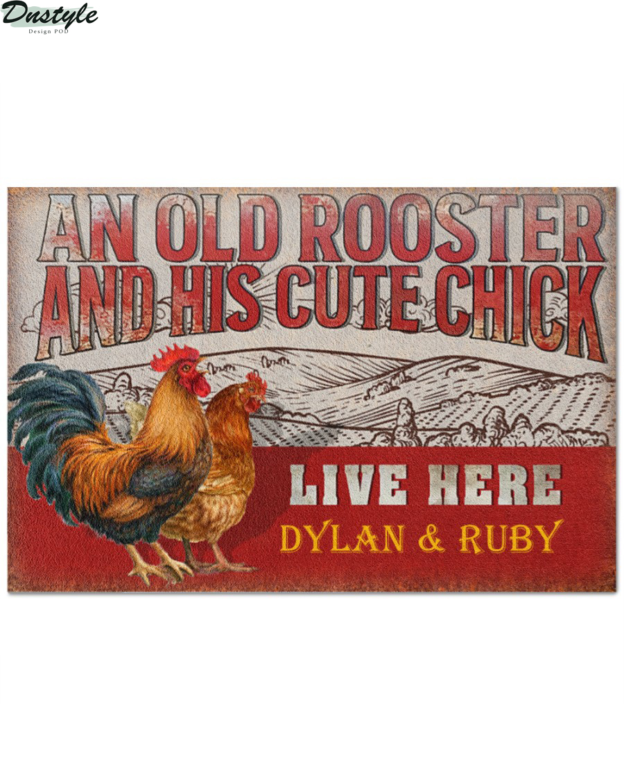 Personalized custom name chicken old rooster and his cute chick live here doormat