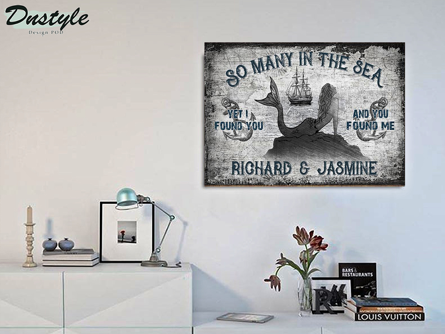 Personalized custom name sailor mermaid so many in the sea poster