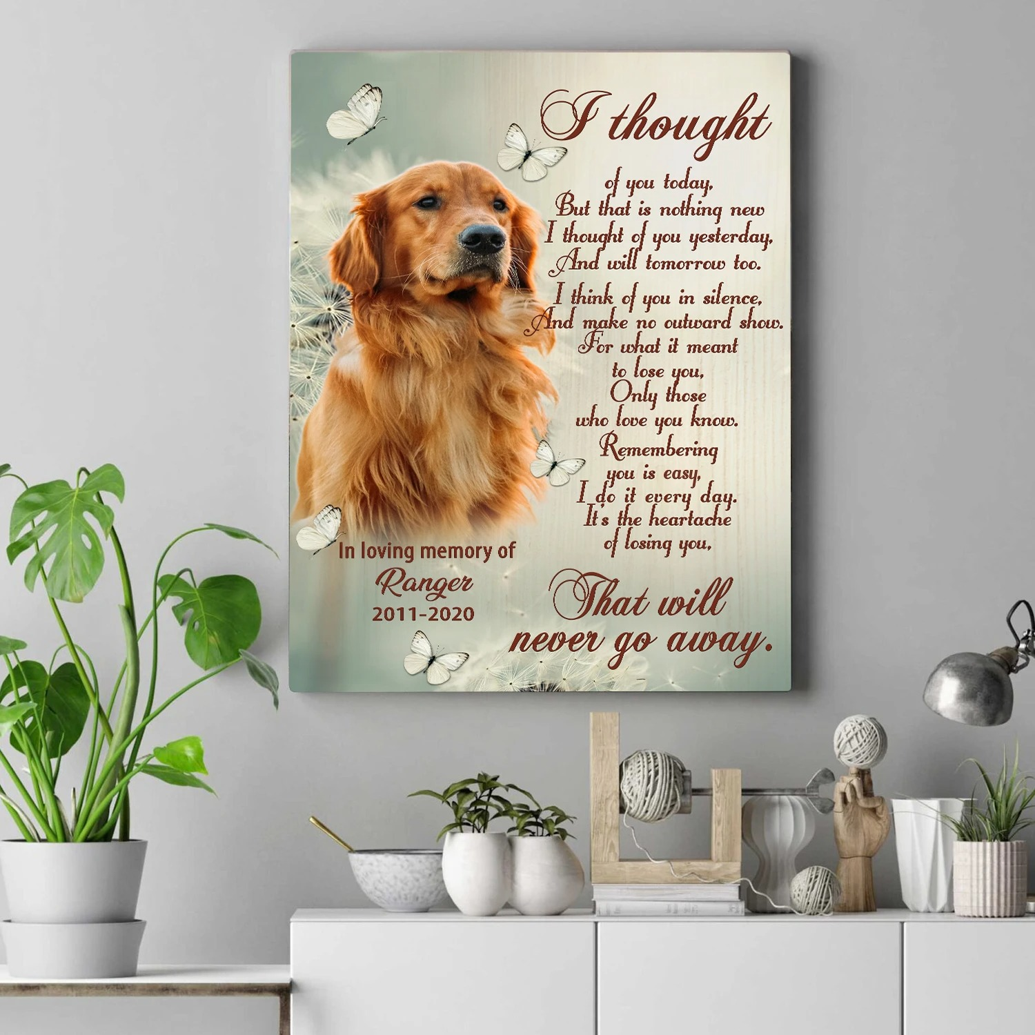 Personalized pet loss I thought of you today canvas 1