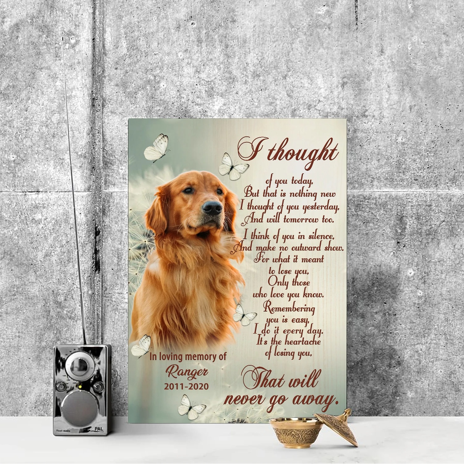 Personalized pet loss I thought of you today canvas 2