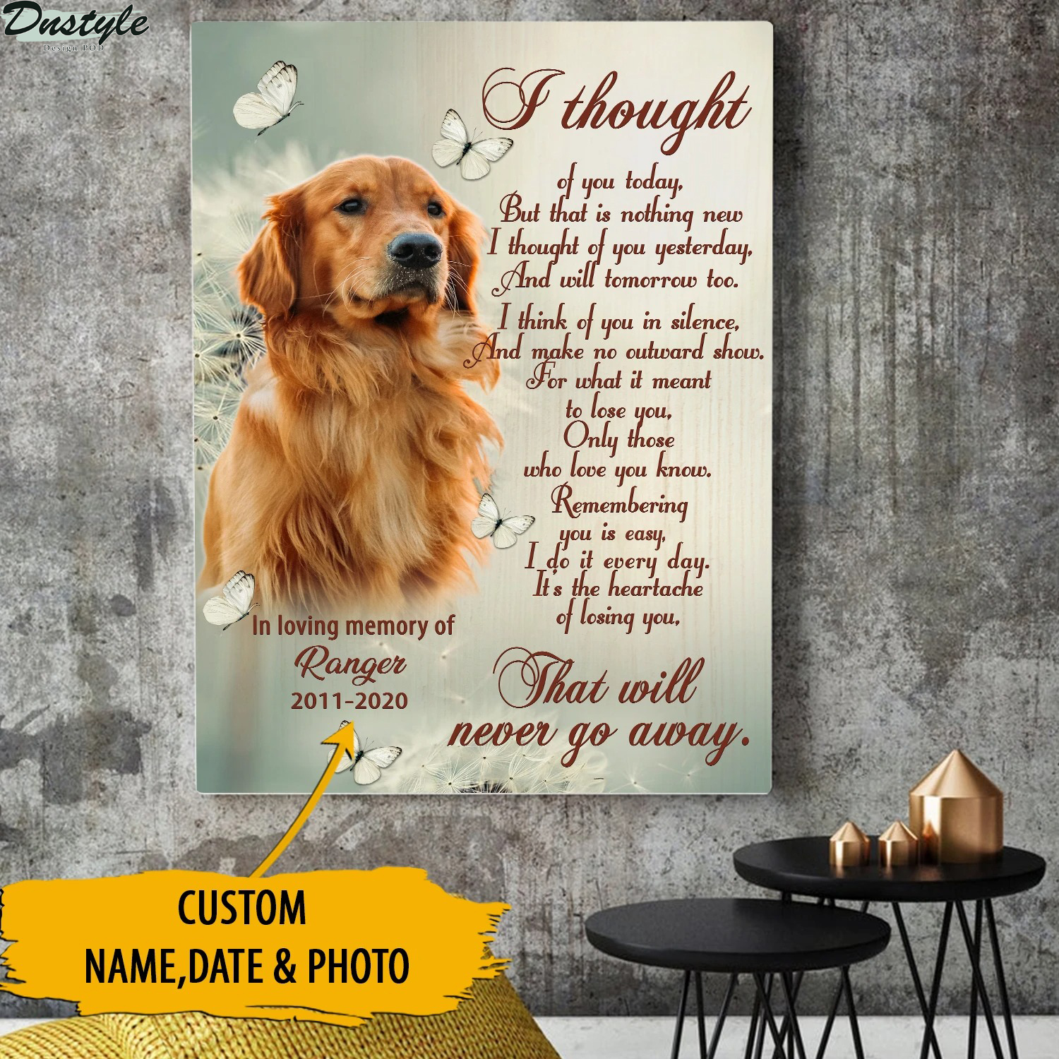 Personalized pet loss I thought of you today canvas
