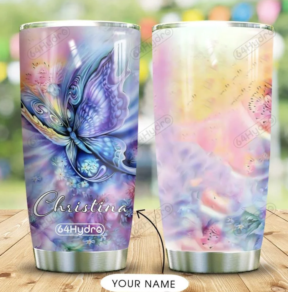 Personalized rainbow butterfly tumbler