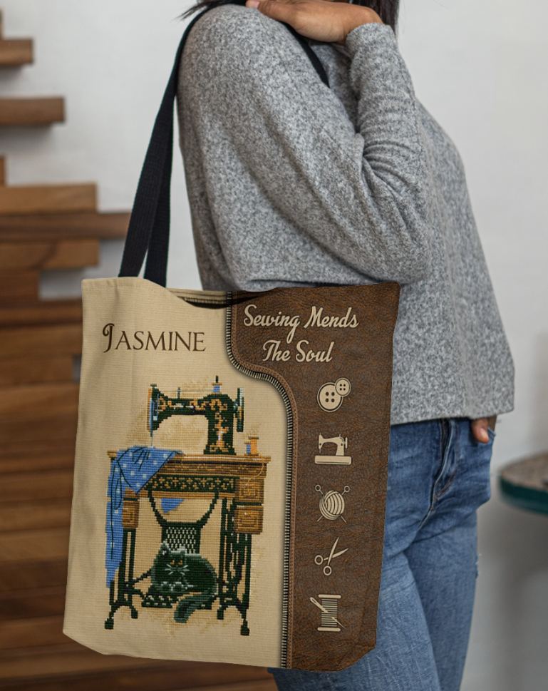Personalized sewing mends the soul tote bag
