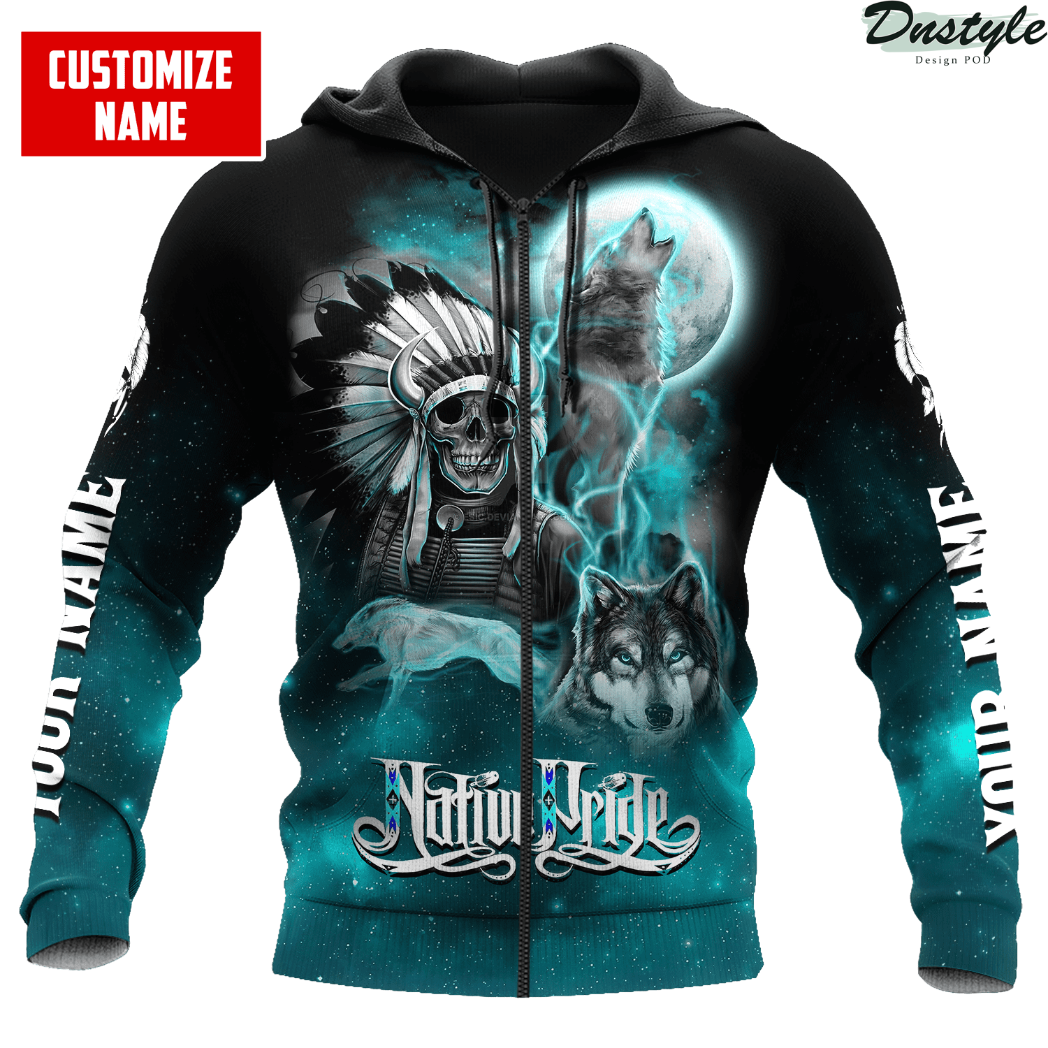 Personalized skull and wolf smoke pattern native pride 3d printed hoodie 1