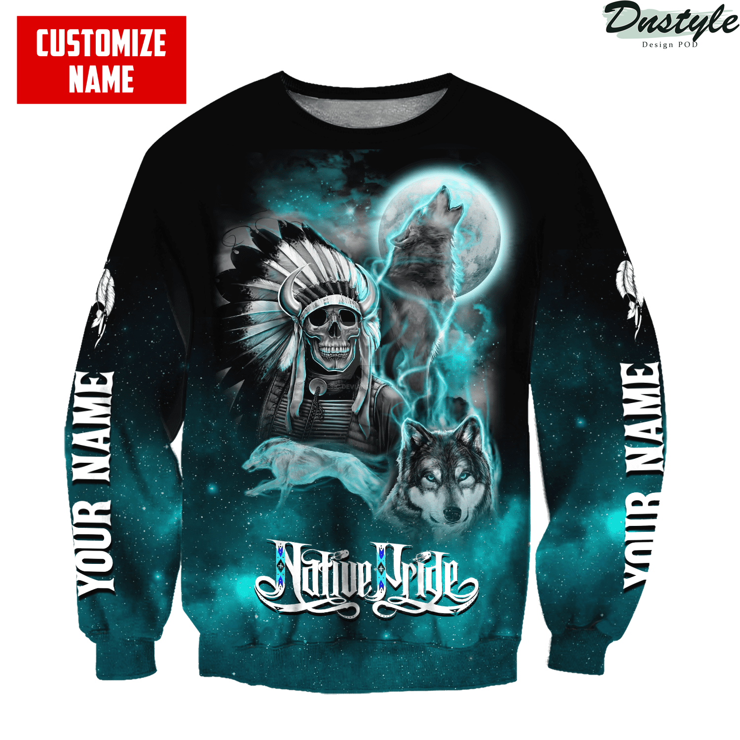 Personalized skull and wolf smoke pattern native pride 3d printed hoodie 2